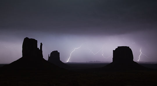 Lightning over Monument Valley, Utah.