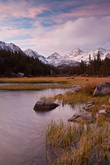 Dawn over Little Lakes Valley in the Eastern Sierra Nevada Range, California.