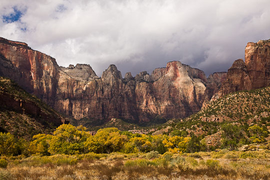 Stormy skies over the red rock formations in Zion National Park, Utah.