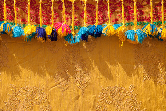 Fabric Fringe and wall, Morocco