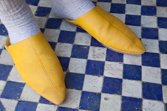 Yellow Shoes and blue tiled floor, Morocco