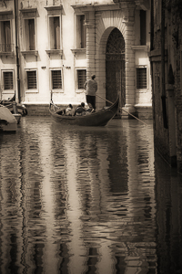 Touring by Gondola, Venice.