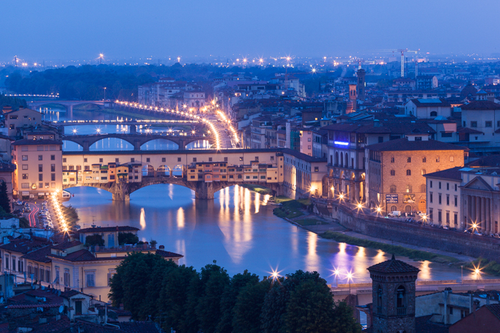 Cityscape at Twilight, Florence, Italy.